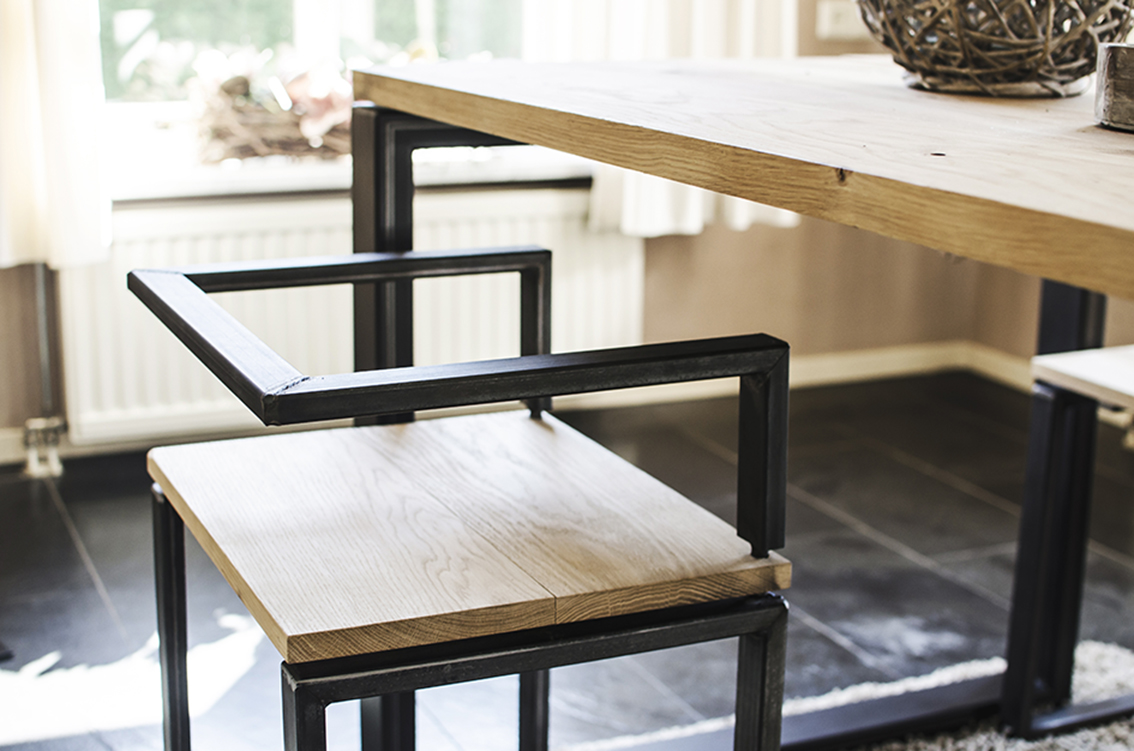 Hout Staal Meubels.Biagino Industriele Stoel Thomaswood