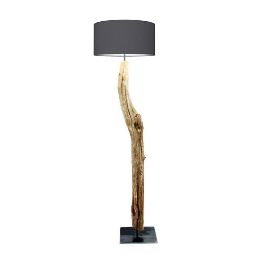 houten vloerlamp grijs