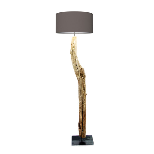 houten vloerlamp warm grijs